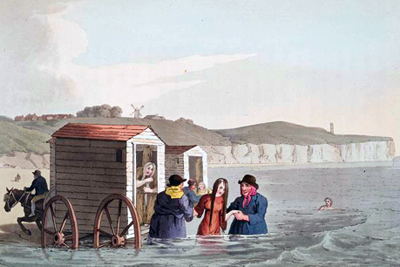 Sea bathing using a bathing machine