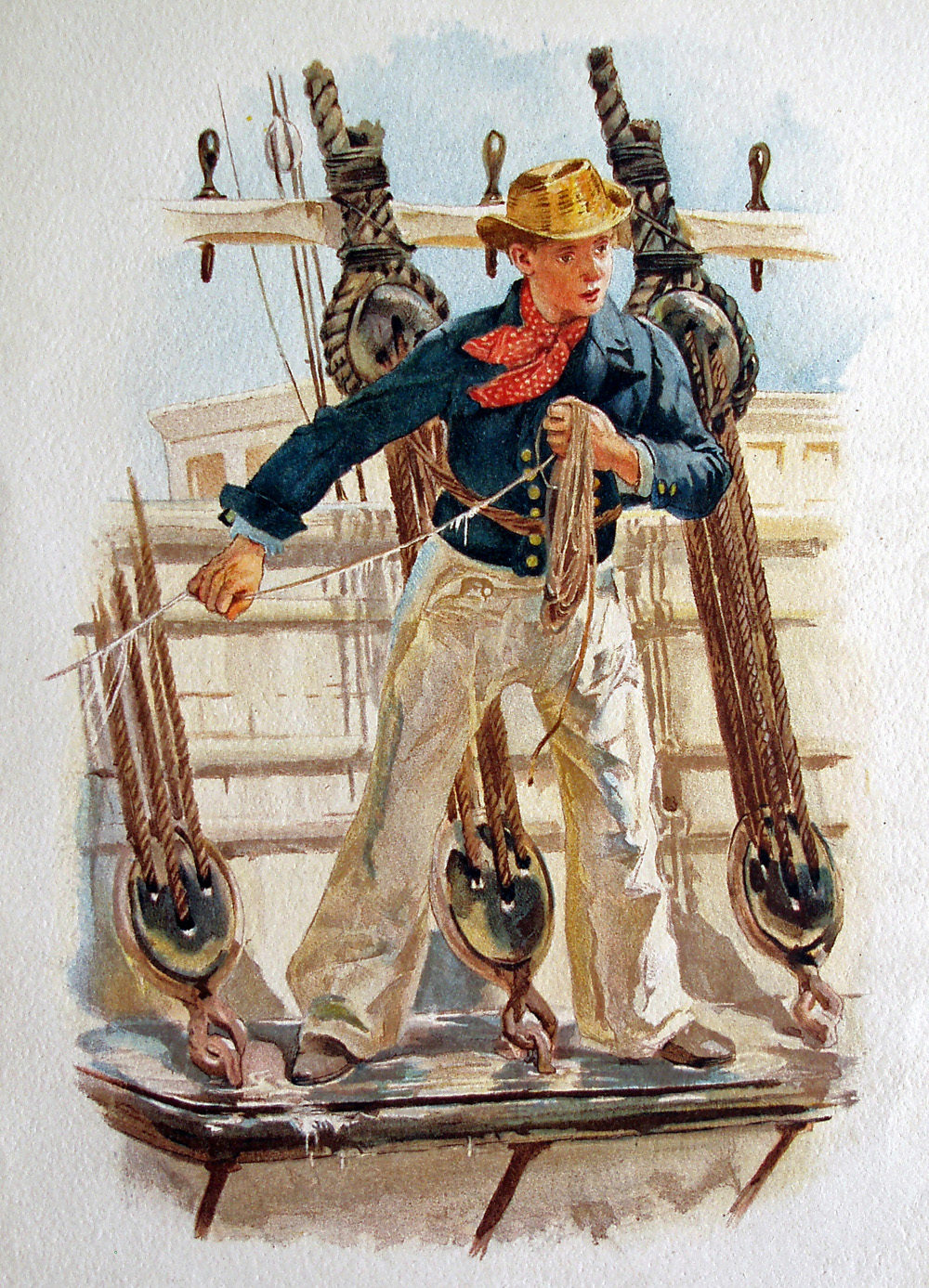 Seaman wearing short jacket, loose trousers, neckerchief and glazed hat